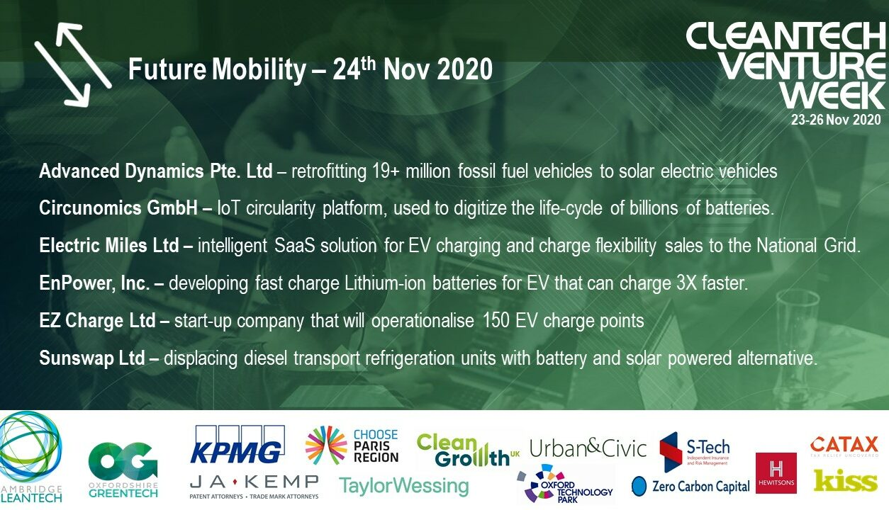 Cleantech Venture Week 2020 Future Mobility Company Presenters